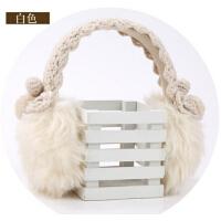 韩版女士毛线针织花边耳罩超大款 冬天保暖韩版毛毛耳罩