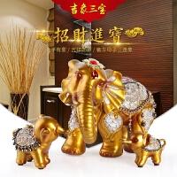 欧式家居酒柜装饰品客厅风水招财母子大象电视柜摆件创意结婚礼物