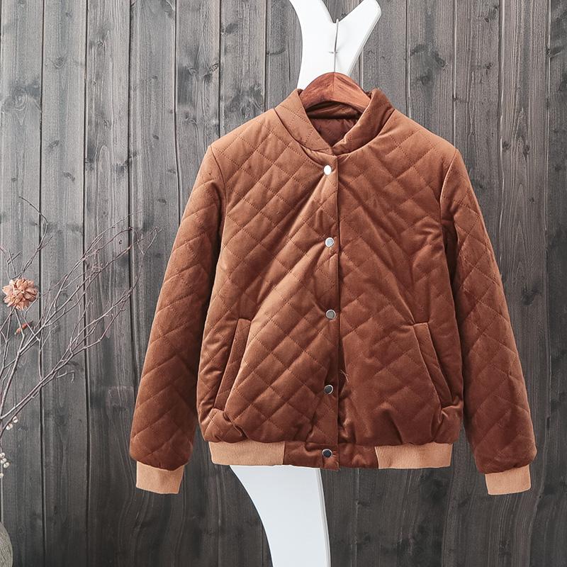 女棉衣短新韩版学生菱格金丝绒加厚棒球服小冬季棉袄 发货周期:一般在付款后2-90天左右发货,具体发货时间请以与客服协商的时间为准
