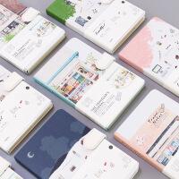 韩国创意磁扣硬壳笔记本子 简约文艺彩页旅行日记本小清新手账本