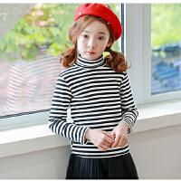 女童秋冬装新款加绒立领打底衫韩版儿童高领条纹中大童潮上衣