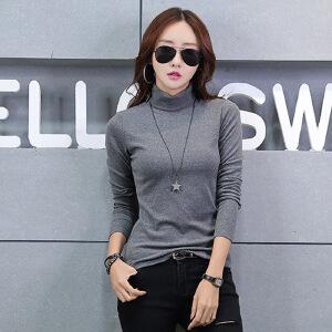 2017秋装新款韩版女装打底衫高领套头女上衣纯色长袖t恤女
