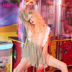 【低至1折起】妖精的口袋荷叶边雪纺衫春秋款新款圆领木耳边收腰蕾丝衫女