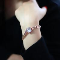 韩版时尚饰品温婉简约镀18k玫瑰金单钻手链女粗链