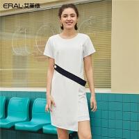 艾莱依2019新款女装夏季裙子时尚修身中长款圆领连衣裙601828037