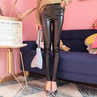 PU皮裤201秋季7新款高腰黑色弹力显瘦亮丝打底裤女外穿长裤