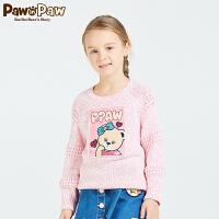 【3件2折 到手价:100】Pawinpaw宝英宝小熊童装春季款女童卡通印花圆领针织衫