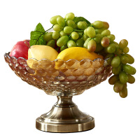 玻璃水果盘大号客厅创意奢华家用茶几装饰品摆件现代简约