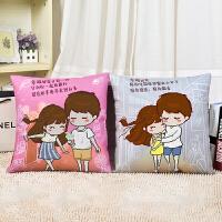 十字绣新款印花情侣卡通十字绣抱枕卧室简单可爱创意婚庆枕头套一对SN8539 幸福相伴++枕芯2