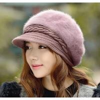 韩版兔毛帽子时尚可爱 毛线帽潮女士秋冬天针织帽保暖