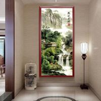 玄关竖版流水生财山水风景现代客厅十字绣