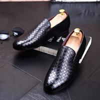 DAZED CONFUSED 潮牌春秋新款男士套脚皮鞋编制懒人鞋日常韩版休闲鞋内增高低帮男