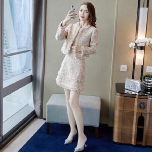 【超级品牌日!下单立减100!】名媛小香风连衣裙女长袖早秋装2018新款女装套装裙子加外搭两件套