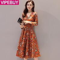 VIPEBUY 2017秋冬季新款女装韩版气质修身长袖V领印花高腰长裙针织连衣裙
