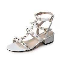 Tata/他她2017年夏季羊皮珍珠铆钉时尚罗马鞋女凉鞋FHM01BL7