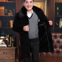 中年男士大衣中老年老人加厚爸爸装毛呢子毛领中长款风衣外套
