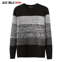 拉夏贝尔男装Jackwalk羊毛套衫 2018冬季新品花纱毛衣男商场同款