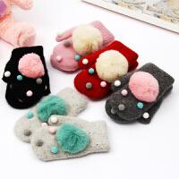 新款儿童手套冬天保暖加绒女童兔毛加厚可爱亲子手套