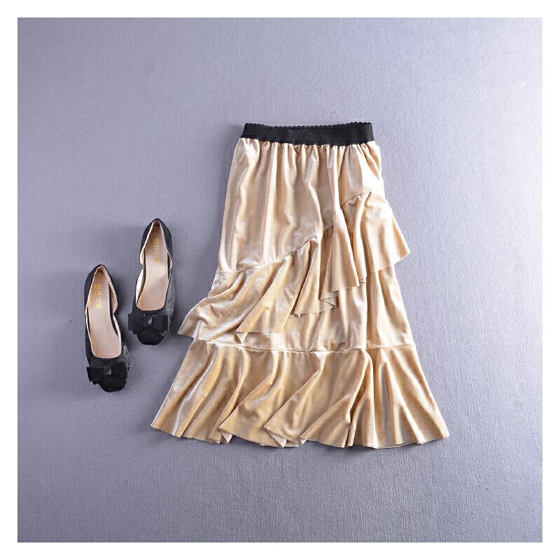 C1FSLL#12秋冬季韩版高腰纯色显瘦松紧腰半身裙潮 发货周期:一般在付款后2-90天左右发货,具体发货时间请以与客服协商的时间为准