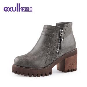 依思q新款厚底粗跟高跟短靴侧拉链潮靴