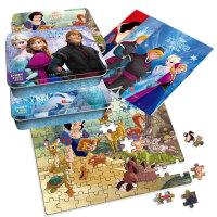 正版全新 迪士尼卡通全明星拼图铁盒:冰雪奇缘+白雪公主(3个铁盒、300片拼图)