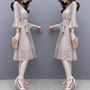 哆哆何伊2018春夏装新款女装韩版气质中长款七分袖V领小碎花雪纺连衣裙女