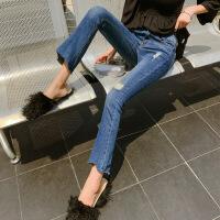 牛仔裤女修身显瘦小脚韩版外穿2019春款提臀低腰九分裤长裤 8902款深蓝色