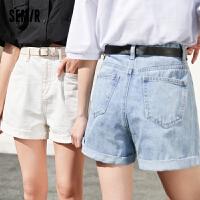 森马牛仔短裤女舒适中腰腰带A字水洗大口袋2021夏季新款经典基础