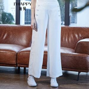 海贝2018春季新款女装 纯色雪纺轻薄高腰双排扣休闲裤阔腿裤长裤