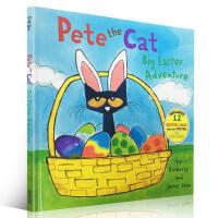【全店300减100】英文原版Pete the Cat: Big Easter Adventure 进口精装低幼童书 欢