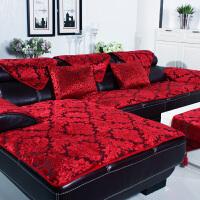 欧式沙发垫布艺坐垫子皮实木毛绒沙发套巾罩四季通用防滑客厅