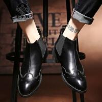 米乐猴 潮牌英伦尖头皮靴男士高帮工作皮鞋韩版高邦马丁靴短靴高腰休闲男鞋子男鞋