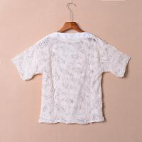 【满】H24秋季韩版短袖纯色套头百搭显瘦蕾丝上衣