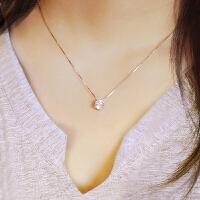 925银锆石项链 简约仿真钻石1克拉女士锁骨链学生吊坠女款 皓石项链(925银送证书)