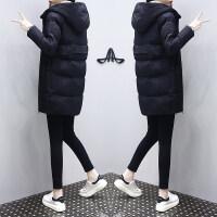 羽绒棉衣女中长款冬装休闲宽松显瘦小个子外套棉袄女 黑色