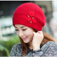 冬季帽子女韩版兔毛帽子女士帽冬天潮可爱贝雷帽针织毛线帽
