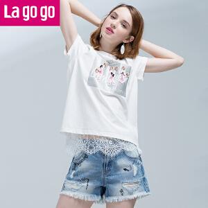 Lagogo拉谷谷2017年夏季新款显瘦毛边纯棉牛仔短裤破洞流苏热裤女