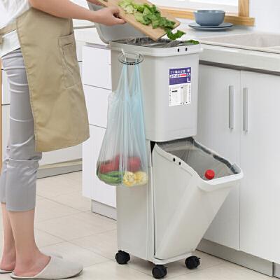 新品干湿分类垃圾桶日式双层带盖家用厨房干湿分离垃圾桶滑轮 日式简约风/大容量/密封无异味