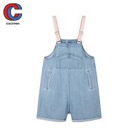 巴拉巴拉旗下棵棵树童装2021年夏季新款休闲背带全棉洋气女中大童牛仔背带短裤