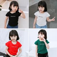 宝宝夏季字母T恤新款儿童上衣体恤小女孩童装休闲短袖打底衫