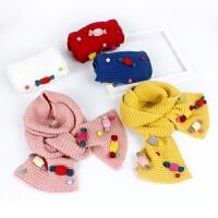 冬季保暖女宝宝毛线围巾韩版儿童糖果色针织长围巾男女童加厚围脖
