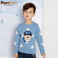 【3件3折 到手价:179】Pawinpaw卡通小熊童装冬男童星星图案套头毛衣长袖套衫