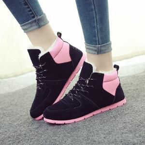 【冬季新款】韩版单鞋潮流休闲棉鞋女学生短靴系带平底拼色女靴新款雪地靴女HM-22BBT