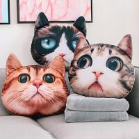 猫咪抱枕沙发靠垫办公室靠枕床头靠背汽车抱枕被子两用护腰枕