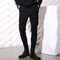 新品潮男个性修身小脚哈伦裤秋冬款发型师显瘦黑色靴裤英伦男裤子