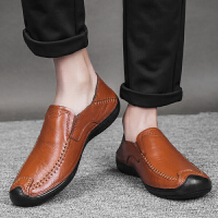 男士休闲鞋男真皮皮鞋镂空透气百搭豆豆鞋头层牛皮软底低帮男鞋子