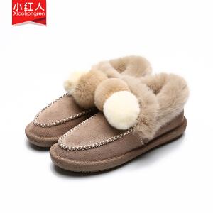 小红人【年终狂欢】2018新款牛反绒加绒棉鞋女鞋子低跟平底冬季韩版套脚保暖磨砂百搭雪地靴3307