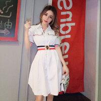 海军风衬衣裙潮 夏季新品镶边高腰短袖连衣裙白色气质款中裙女
