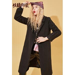 【尾品汇大促】妖精的口袋Y毛呢外套女韩版中长款宽松上衣秋冬装2018新款呢大衣