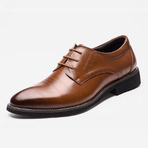 2017春季新款尖头皮鞋商务休闲皮鞋男士皮鞋子单鞋系带英伦风正装皮鞋子2538BBS支持